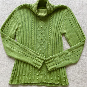 RXB Chartreuse Textured Turtleneck Sweater L